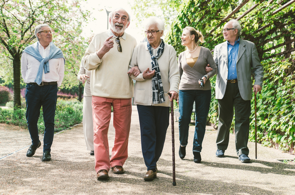 a group of happy nonsmoking elderly people