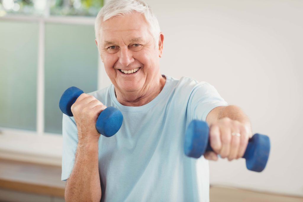 elderly man doing excercises