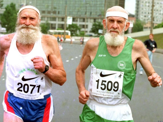 the gift of aging two running elderly men